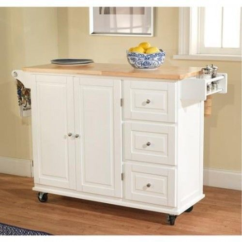 Rolling Island Cart Kitchen Bakers Rack Microwave Stand Wood