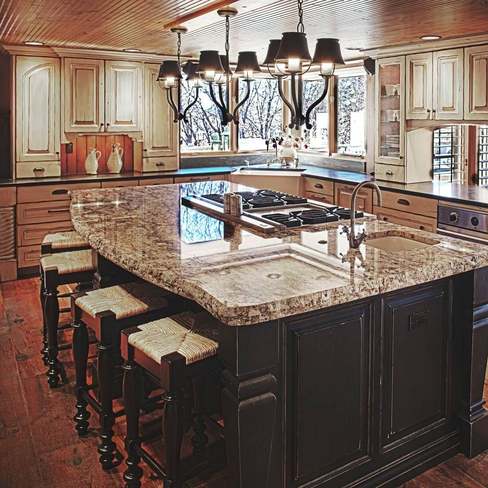 Island with stove top and sink black and white for Kitchen center island cabinets