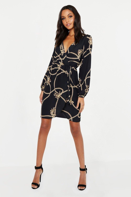 Womens Tall Chain Mixed Print Wrap Midi Dress Black 4 Clothing For Tall Women Fashion Casual Dress [ 1500 x 1000 Pixel ]