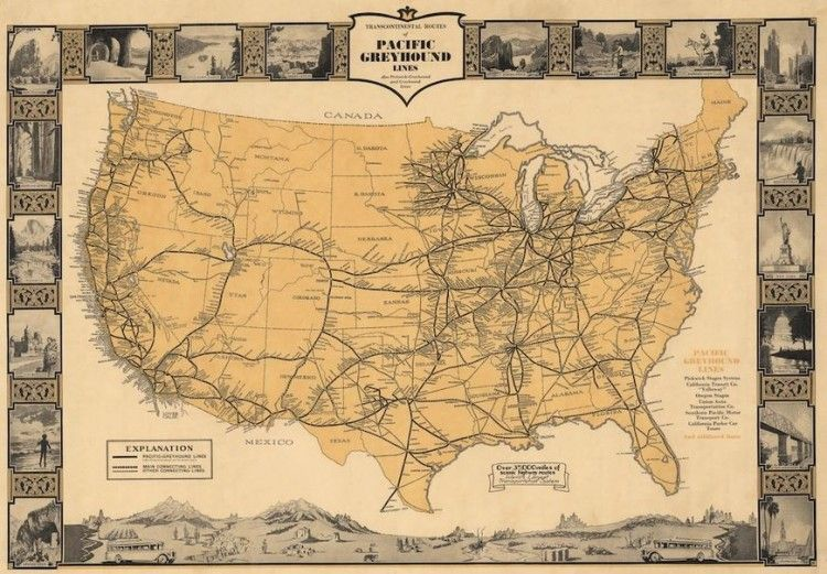 Vintage Infodesign [98 Map of american states, Old maps