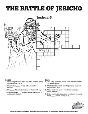 The Battle Of Jericho Sunday School Crossword Puzzles These