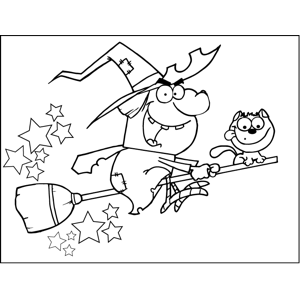 NEW Assortment Of FREE Downloadable Halloween Coloring Pages An Angry Yelling Witch Rides A Broomstick With Her Cute Little Cat In This Printable