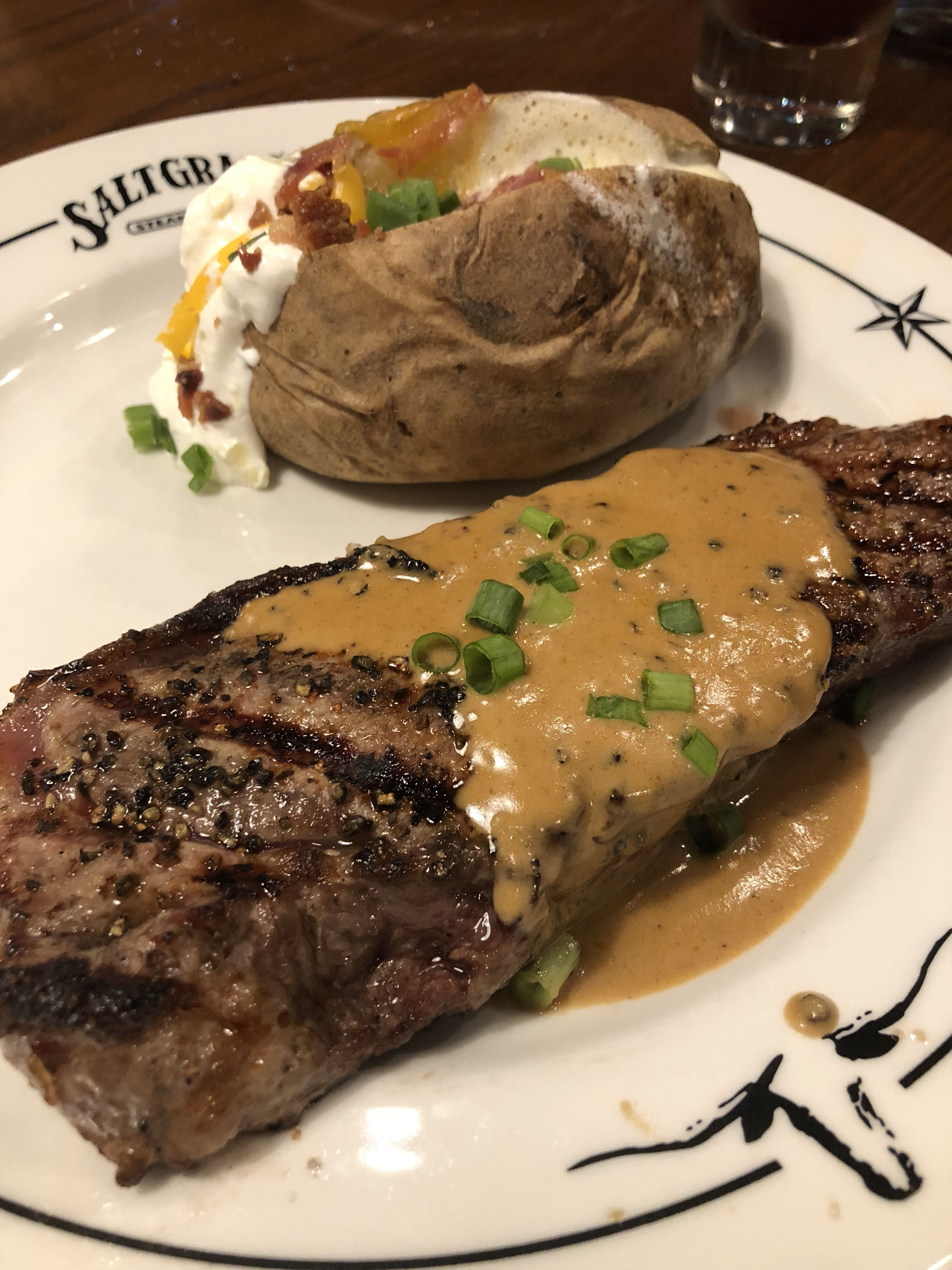 Signature Chef Selections Peppercorn Steak With A Loaded Baked Potato From Salt Gr In Pensacola Fl