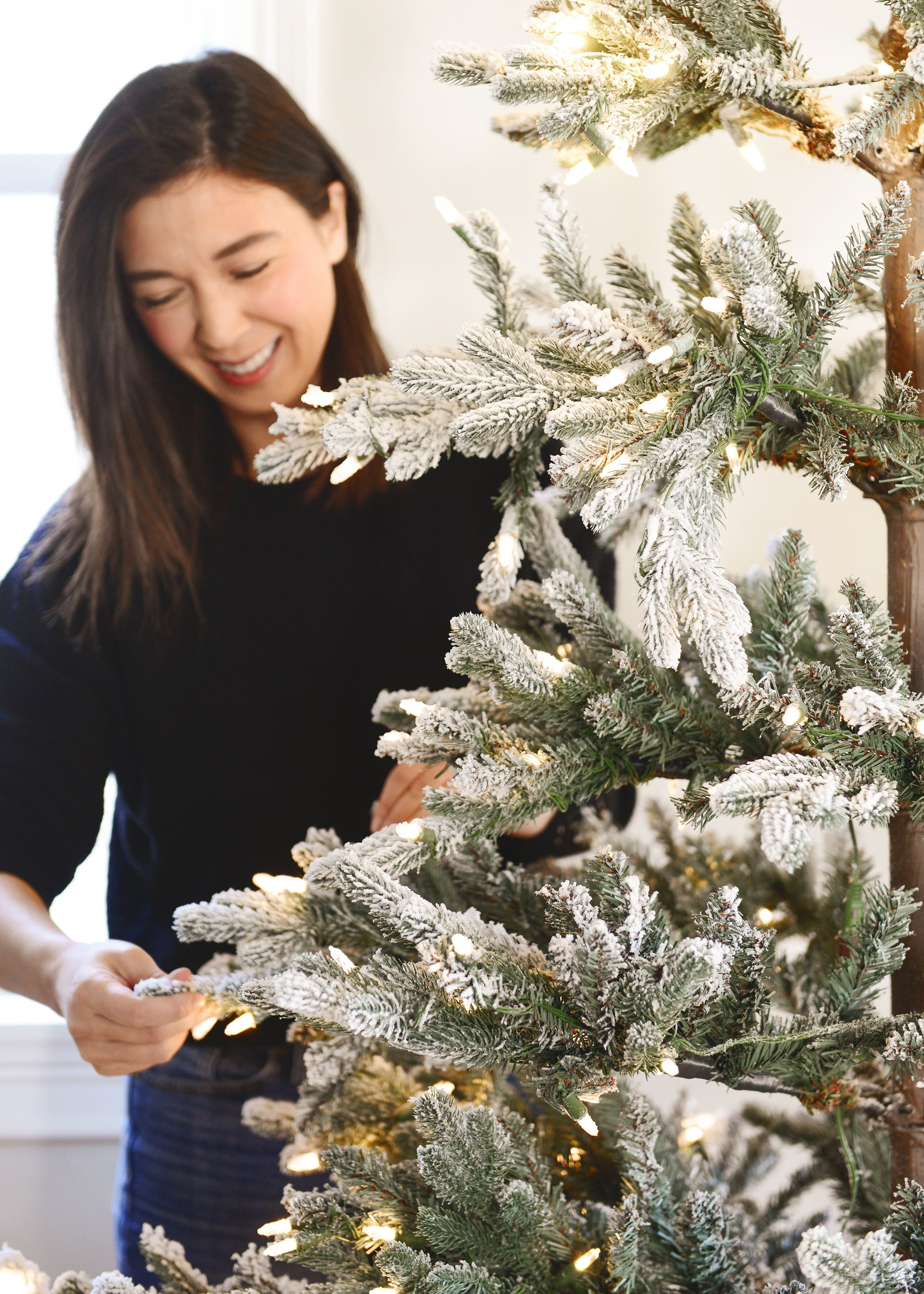 Flocked Trees In Every Shape and Size | Flocked trees, Flocked christmas trees, Tree collar