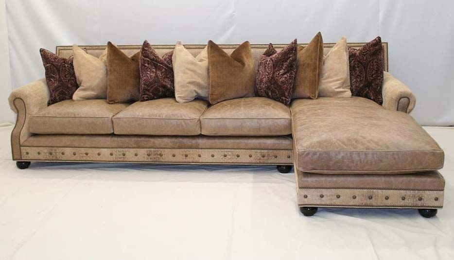 Old Hickory Tannery Oatmeal Leather Sofa Chaise Western Sofas And Loveseats Color On