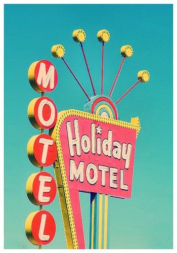 Space-Age-looking signs, especially on motels, lined the