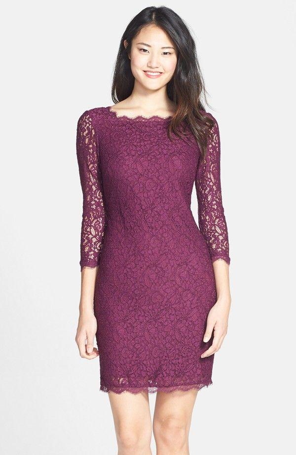 Adrianna Papell Long Sleeve Lace Sheath Dress (Regular & Petite ...