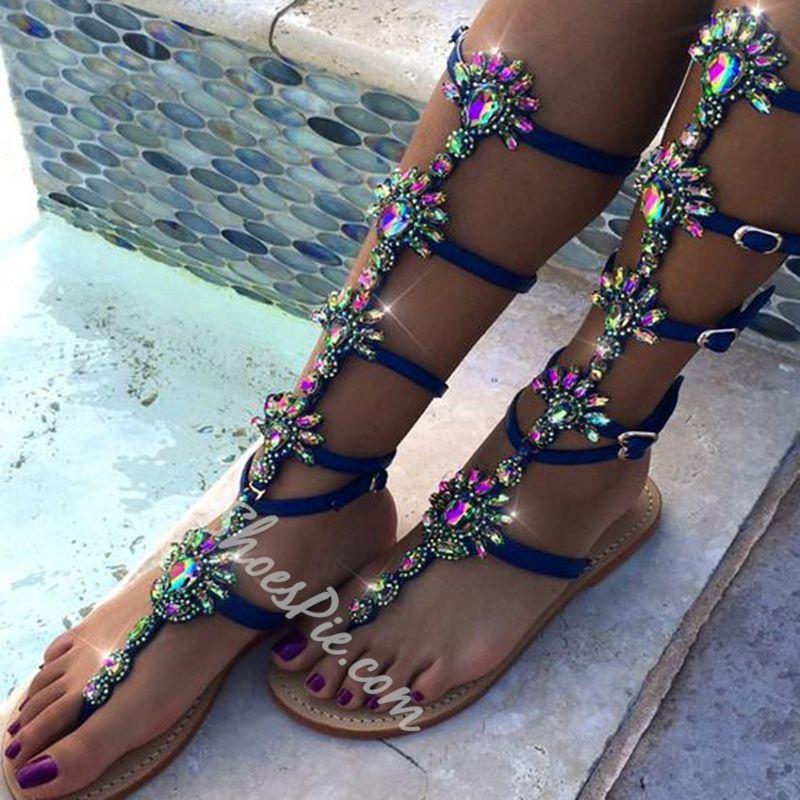 7ea4843b4cdb Shoespie Blue Bohemian Rhinestones Thong Gladiator Sandals