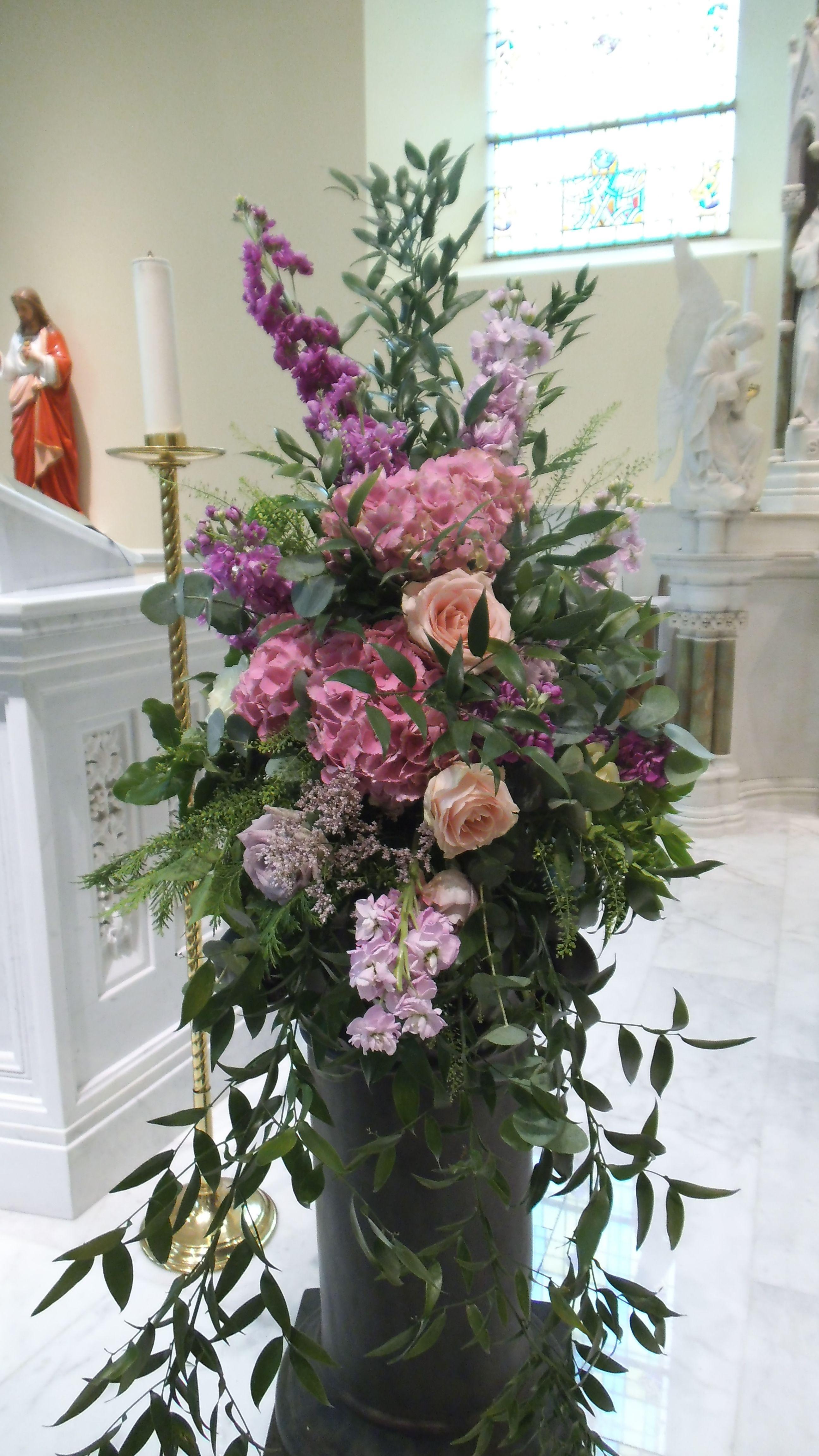 Hydrangea rose and stocks pedestal arrangement church