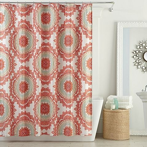 Anthology Bungalow Shower Curtain In Coral Bed Bath Beyond