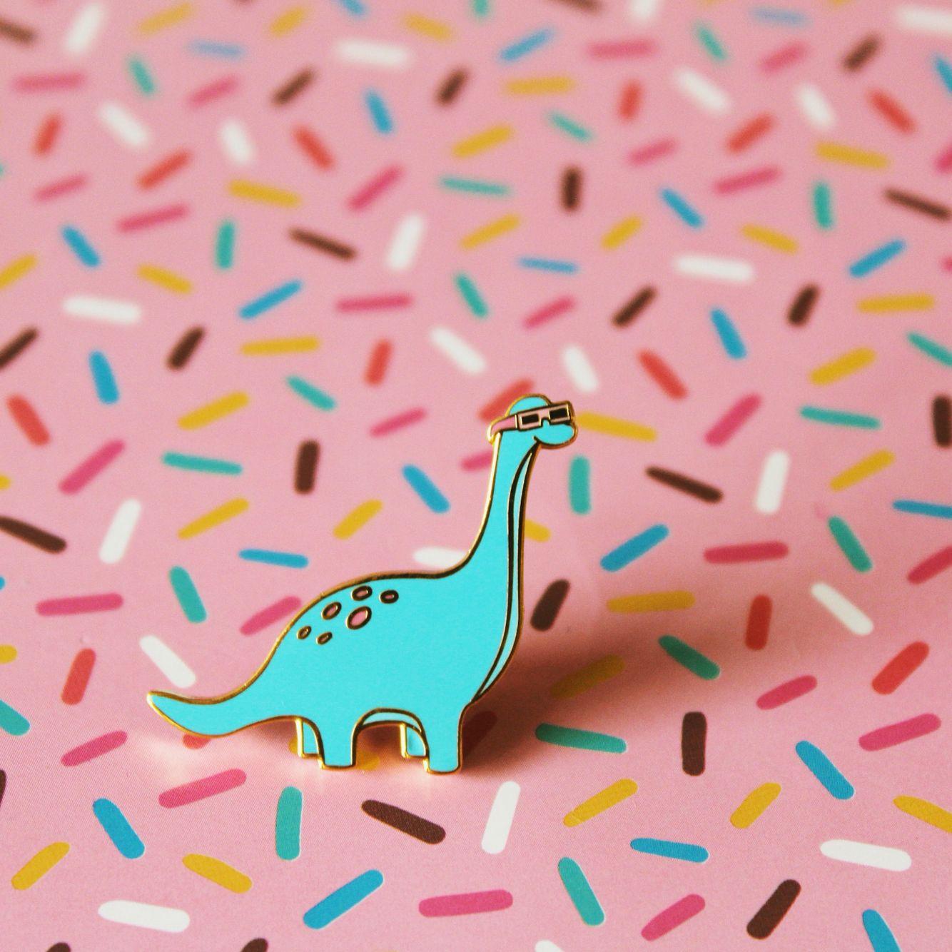 Hard Enamel Gold Lapel Pin Dinosaur With Sunglasses. For