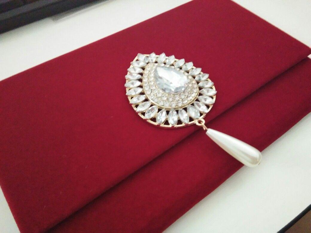Luxurious Velvet wedding invitation cards | Red velvet invitations ...