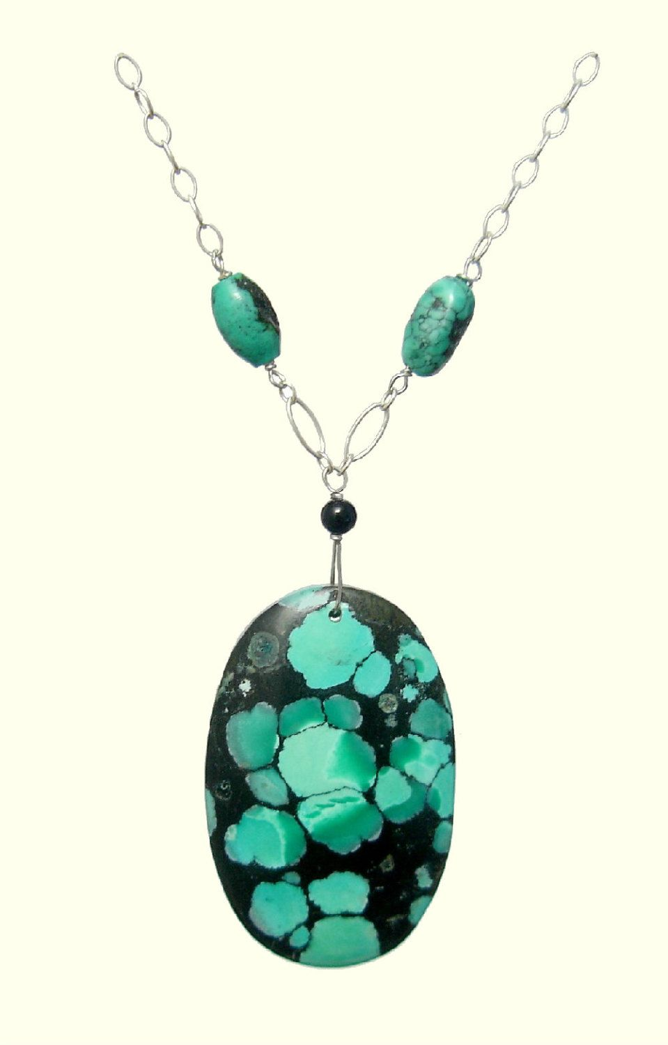 Black green oval turquoise necklace natural stones 925 silver black green oval turquoise necklace natural stones 925 silver necklace healing protection scorpio aloadofball Image collections