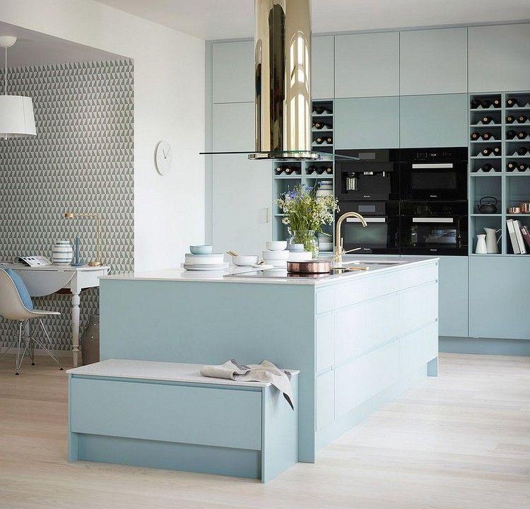 Küchenoberschränke küche pastellfarben blau küchenoberschränke zweierreihen grifflos