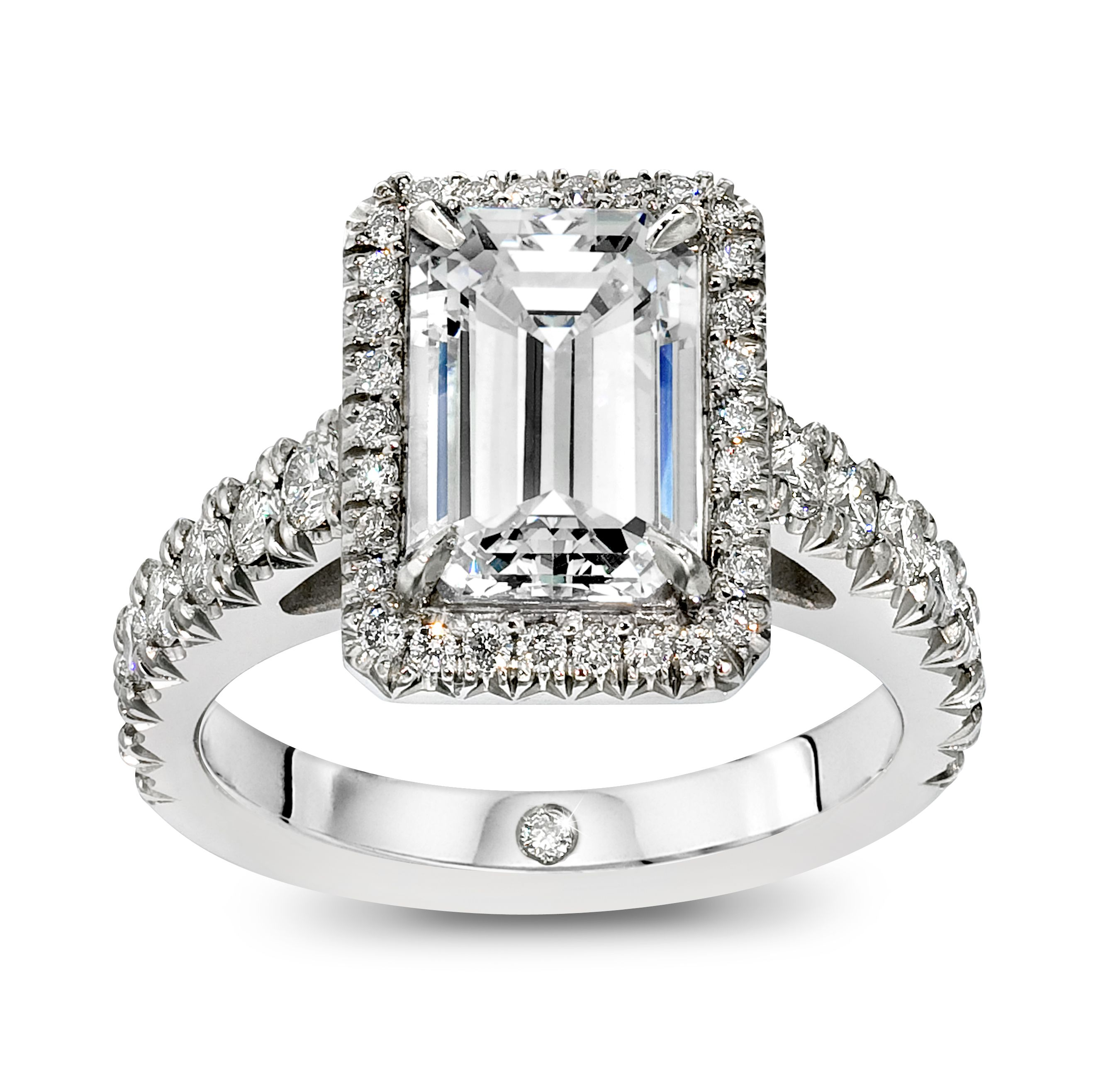 2ct Emerald Cut Diamond Engagement Ring set in a Platinum and