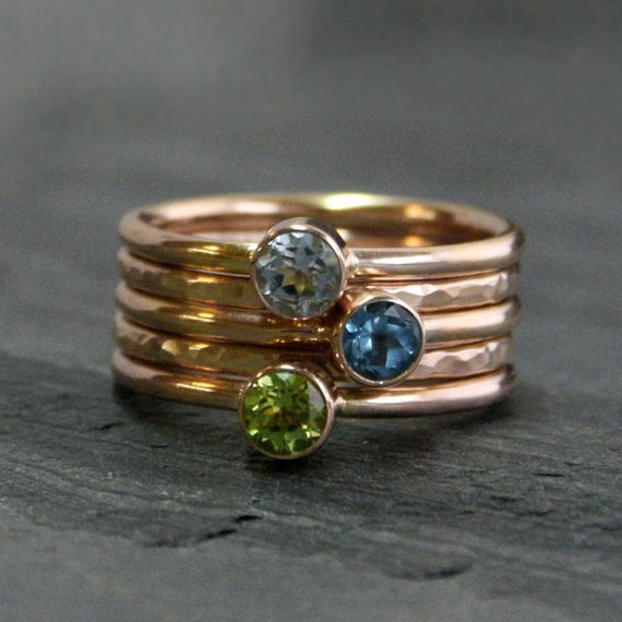 14k Gold Fill Stacking Rings Set Of 5 Rings 4mm Faceted Gemstones Birthstone 14 Karat Gold Filled Stackable Stack Rings You Choose Gemstones In 2019 Products
