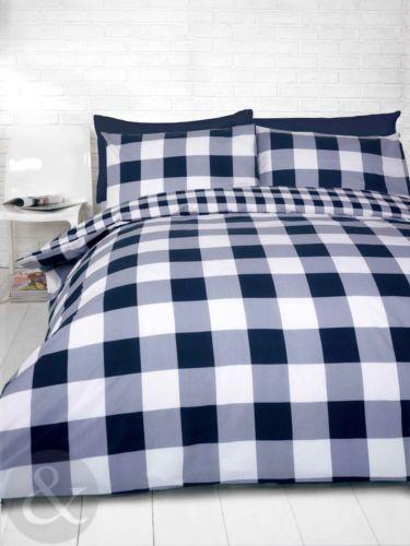 Gingham Check Duvet Cover Cotton Blend Navy Blue Bedding Quilt Bed Set