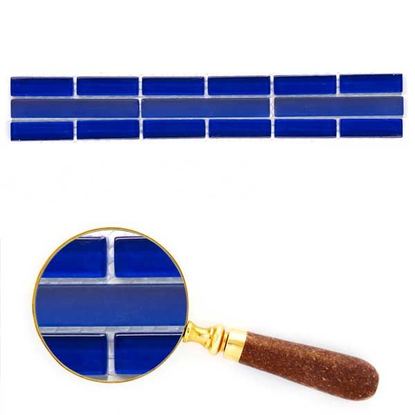 Glass Tile Listello | Glass Tile Mosaic Border Dark Blue
