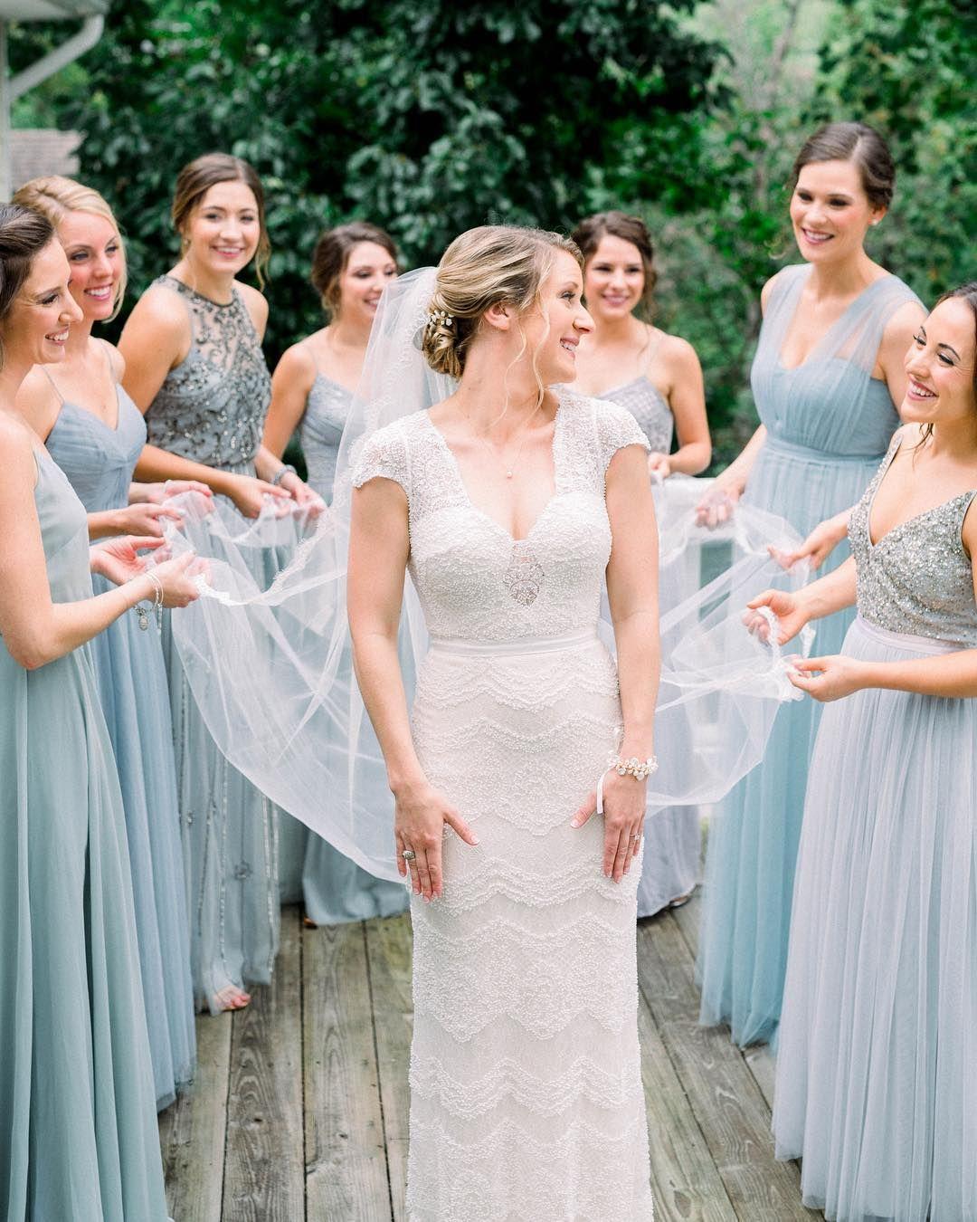Dusty blue wedding bridesmaid dresses photo focusbayphotography