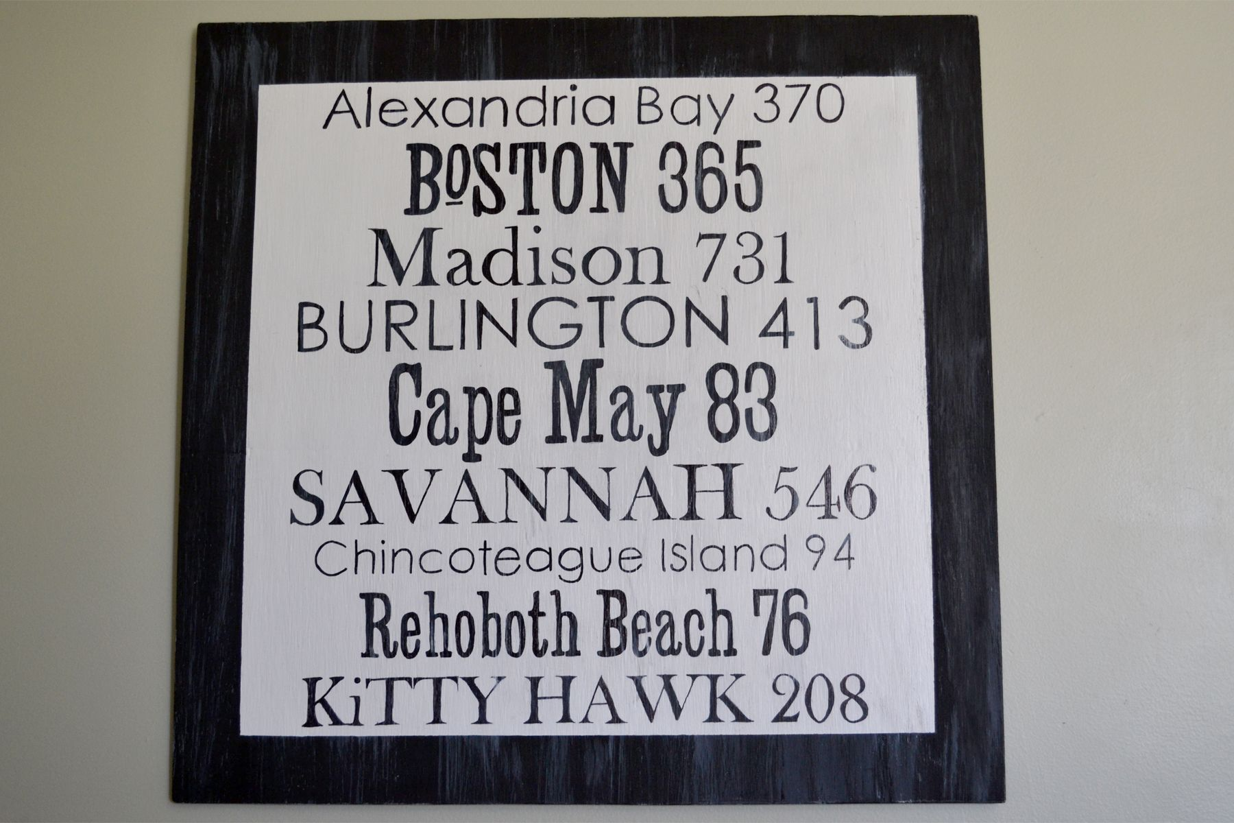"""I finally created my own """"Destinations"""" sign! There is a very transparent whitewash over some areas and I'm happy overall with the way it turned out. Most importantly, it is meaningful to our family. #wordsbydesign #handpainted #woodsigns www.wordsxdesign.com"""