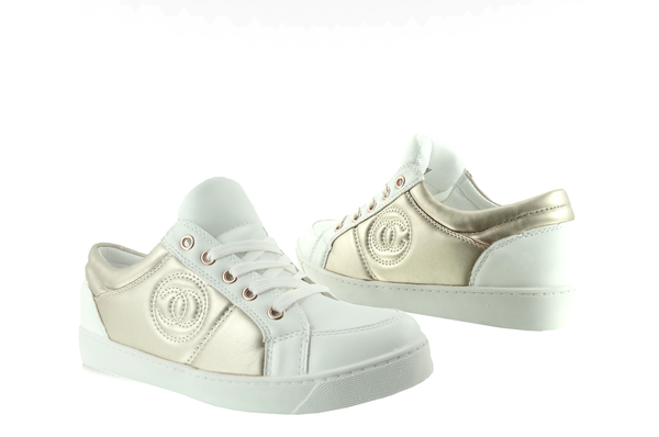 Trampki Chanelki Y612 41 White Bialo Zlote Biale Zolte Sneakers Shoes Wedge Sneaker