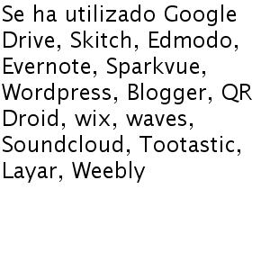 Se ha utilizado Google Drive, Skitch, Edmodo, Evernote, Sparkvue