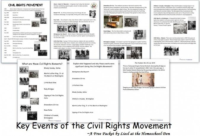 Black History: Key Events of the Civil Rights Movement Printables