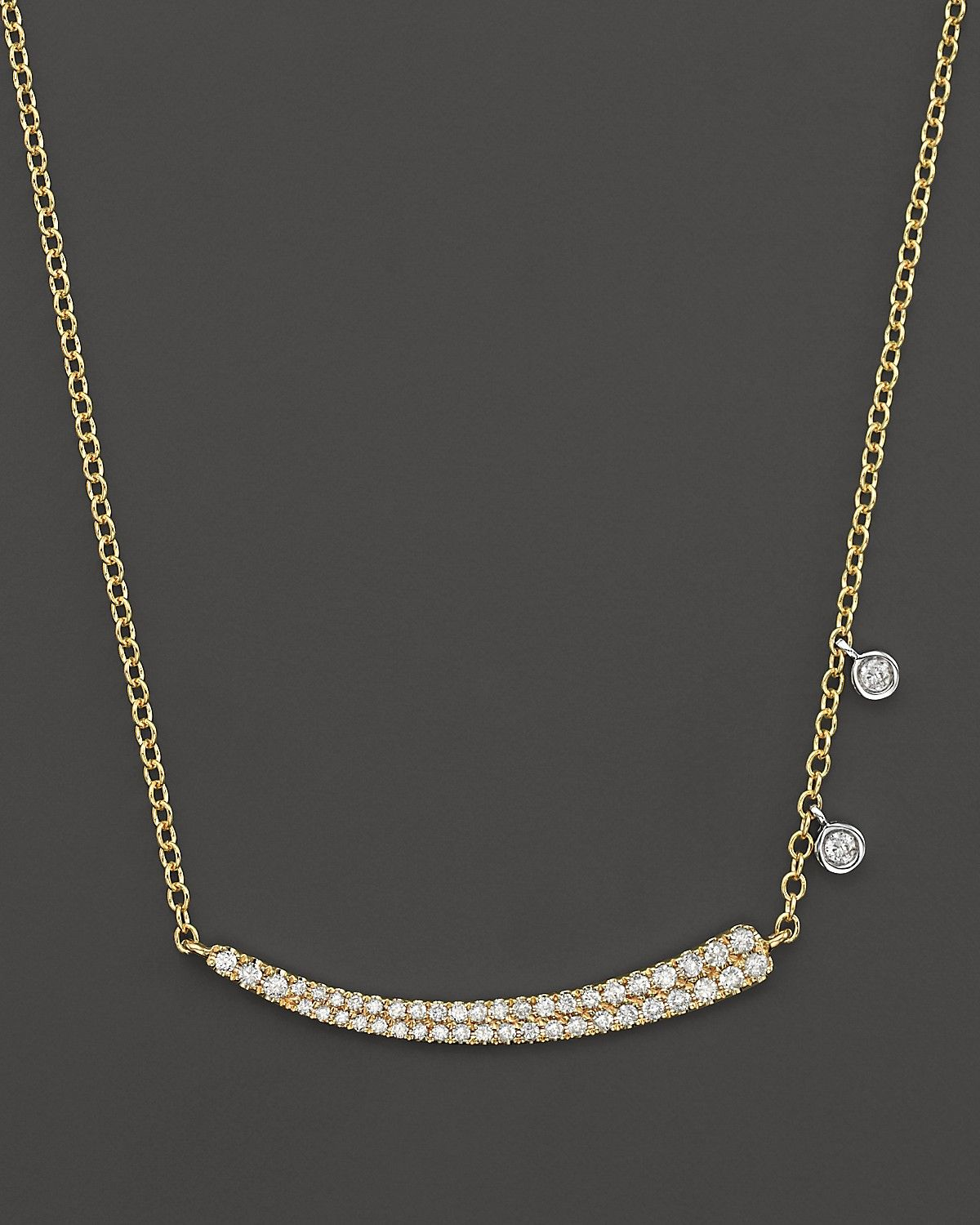 Meira T 14k Yellow Gold Pave Diamond Curved Bar Necklace With 14k White Gold Side Bezels 16 Meira T Bloomingdale S Curved Bar Necklace Bar Necklace White Gold