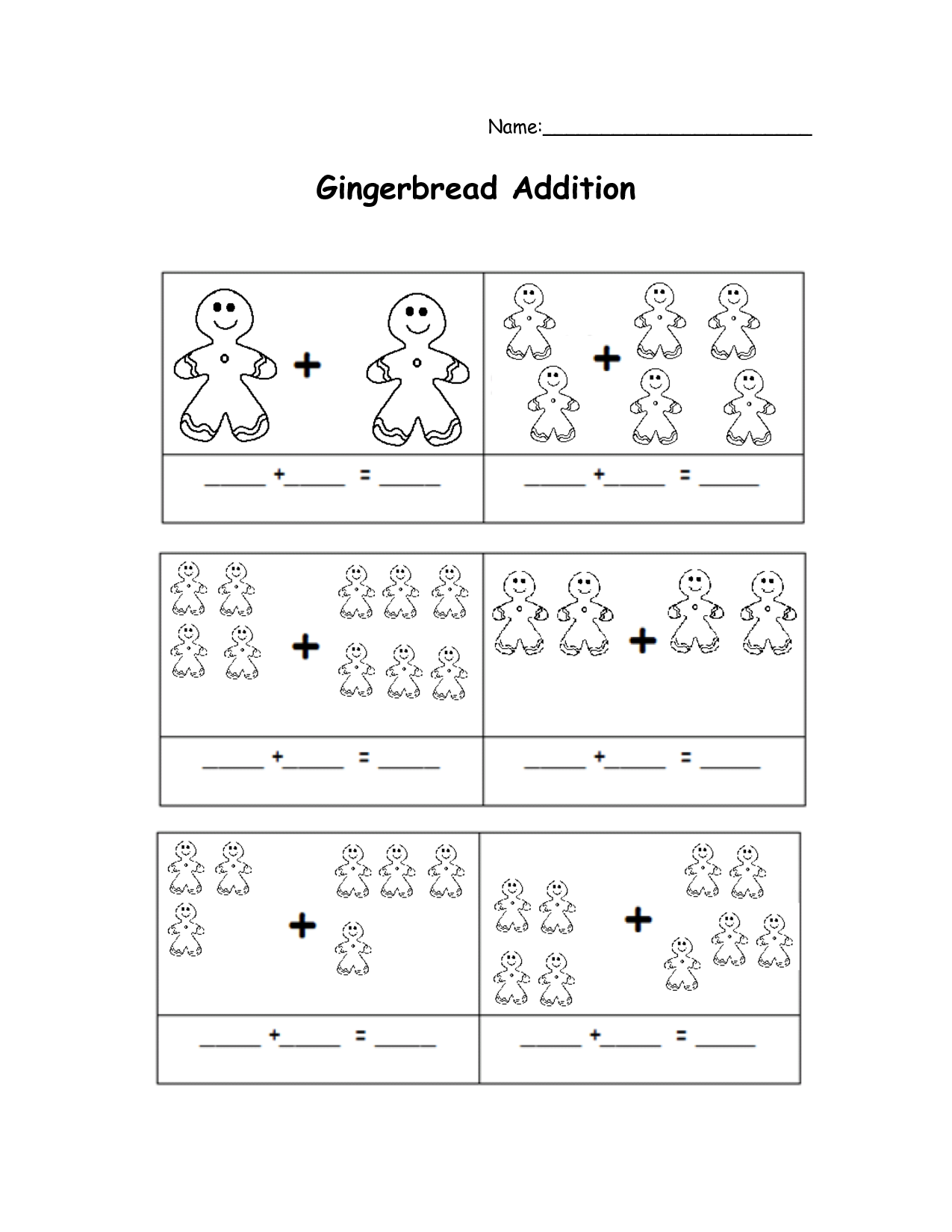 Gingerbread Math Worksheets Scope Of Work Template