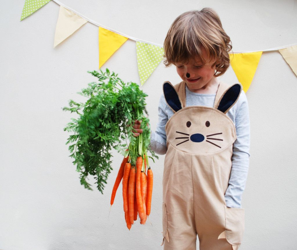 Your little bunny will be a hoppin hit in these overalls (carrots not included)