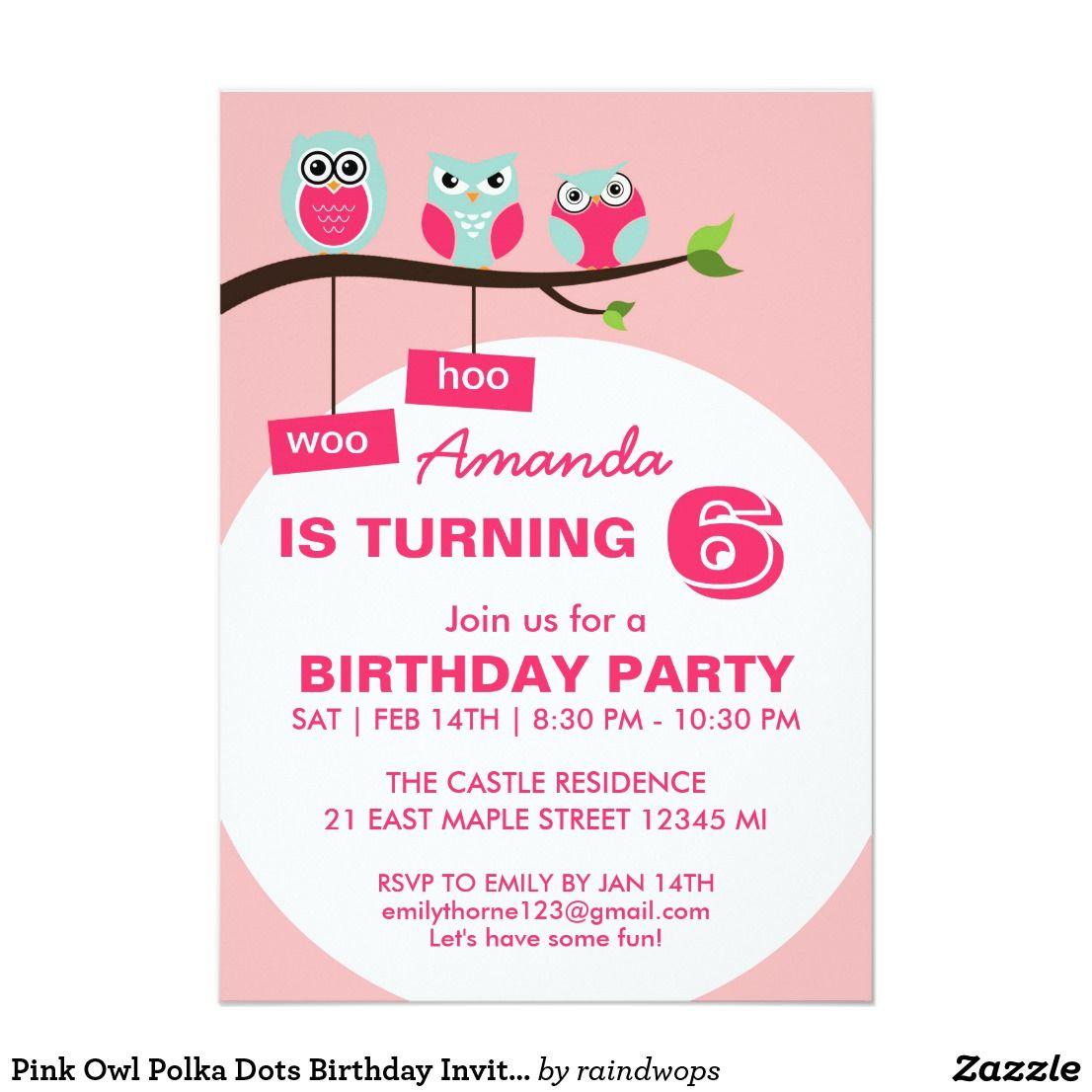 Pink Owl Polka Dots Birthday Invitation for Kids | Polka dot ...