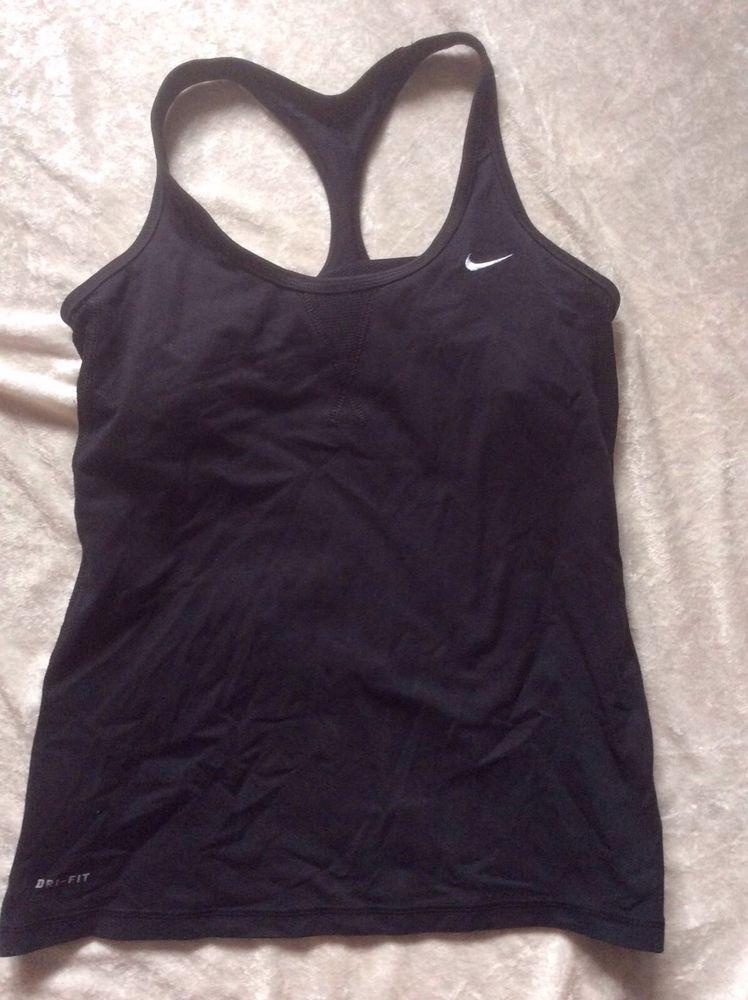 Nike Drifit Tank Small Womens Black Running Bra Top Yoga