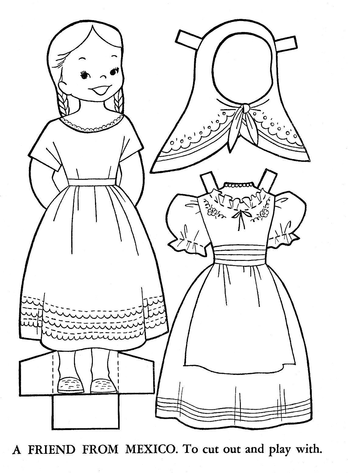 children of other lands coloring and paper doll patterns