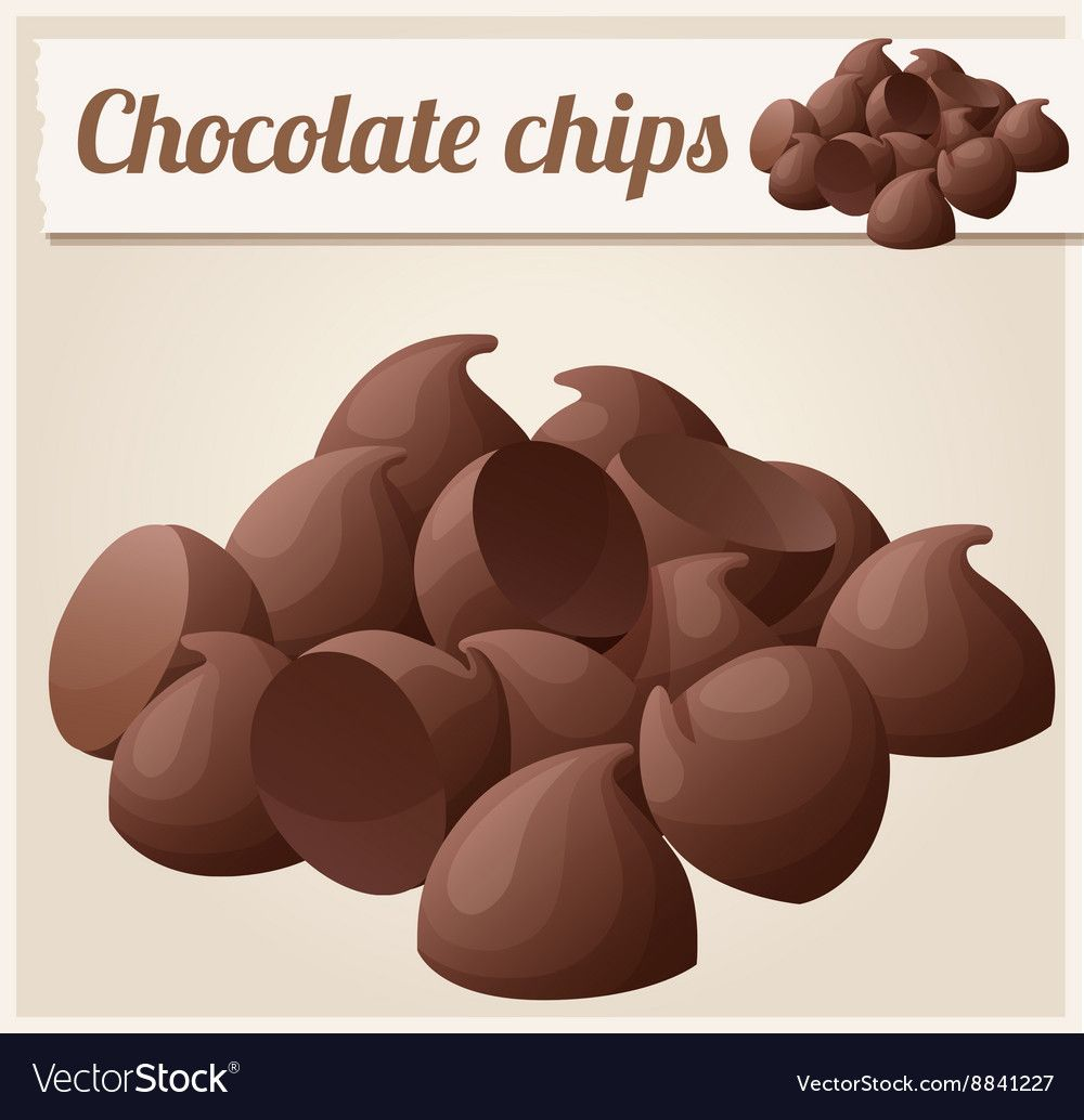 Semisweet Chocolate Chips Detailed Icon Royalty Free Vector Chocolate Chip Chocolate Strawberry Smoothie Semisweet Chocolate