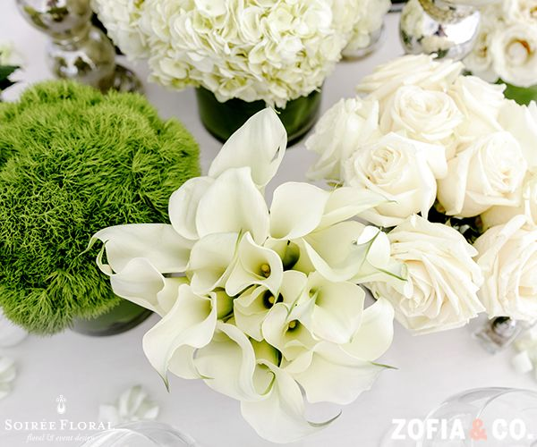 Monobotanical Bliss - Green and White Tablescape with Calla Lilies, Roses and Hydrangea for a Modern Nantucket Wedding. | Photo by Zofia & Co. - www.zofiaphoto.com | Floral Design by Soiree Floral - www.soireefloral.com #nantucket #soireefloral