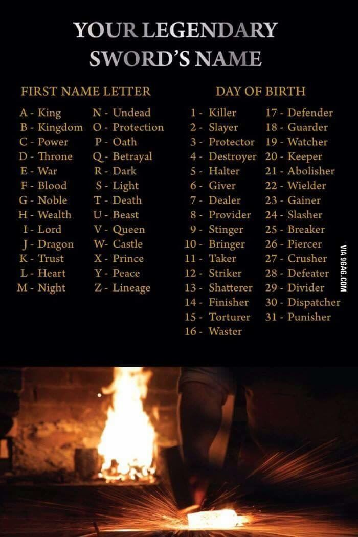What's Your Legendary Sword Name?   Games   Zombie army, Name