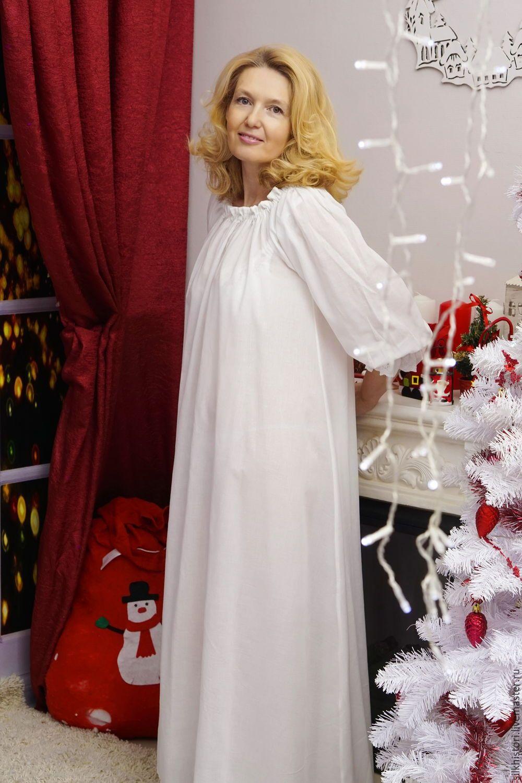 5143811a0714 Купить Ночная сорочка рубашка из батиста, сорочка Оленька - белый ...