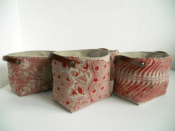 Hand Block Printed Storage Bin Fabric Bucket In Rouge
