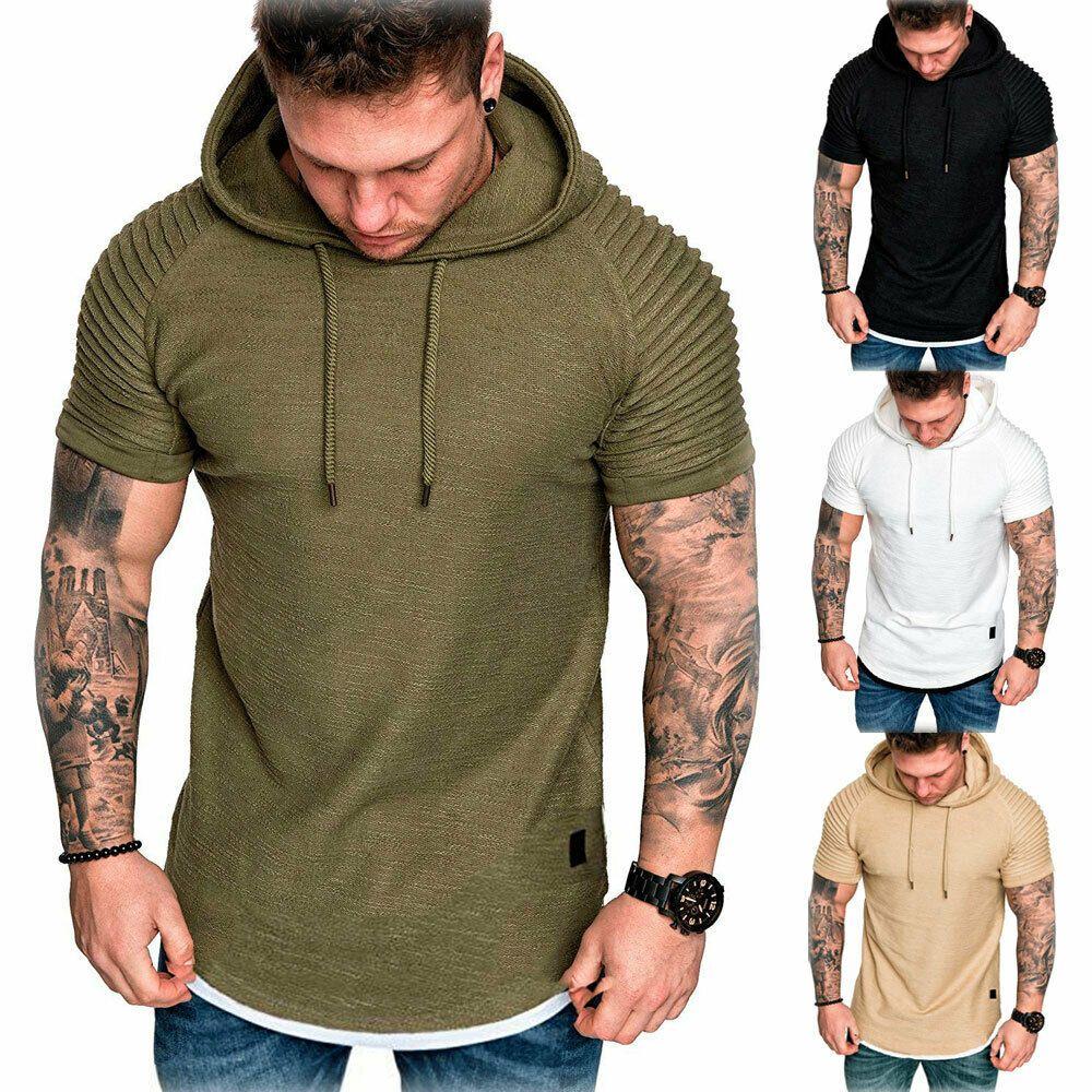 Mens Muscle Hooded Hoodie Short Sleeve T SHIRT GYM Slim Fit Casual Tee Shirt Top