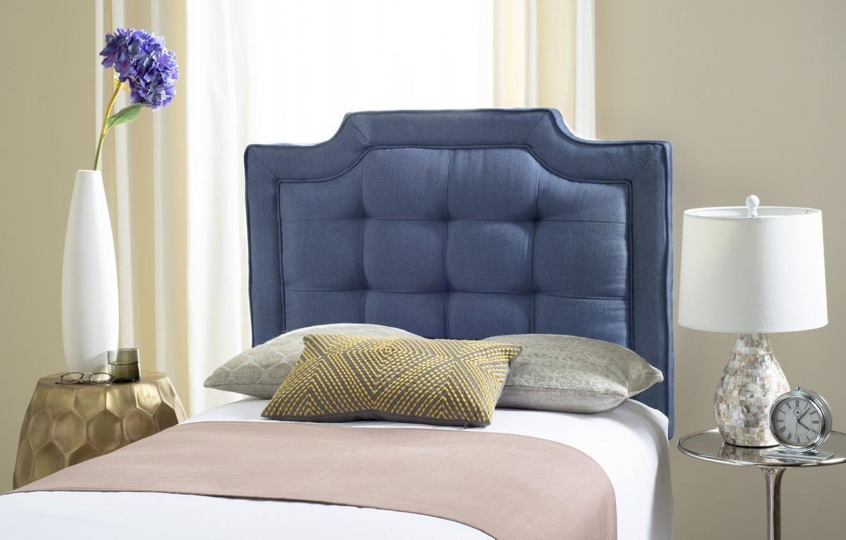 Sapphire Navy Tufted Linen Headboard Headboards - Furniture by