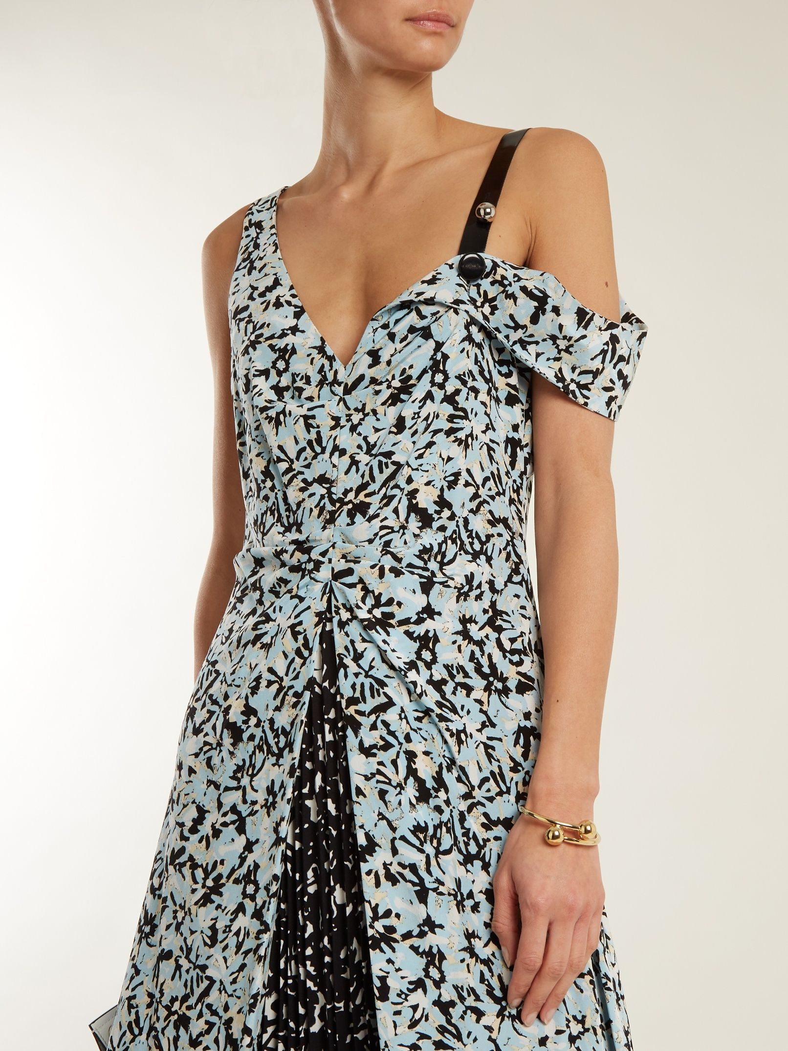 Fast Express Abstract-print silk crepe de Chine dress Proenza Schouler Outlet Marketable Cheapest Cheap Online Eastbay kUyely1sd9