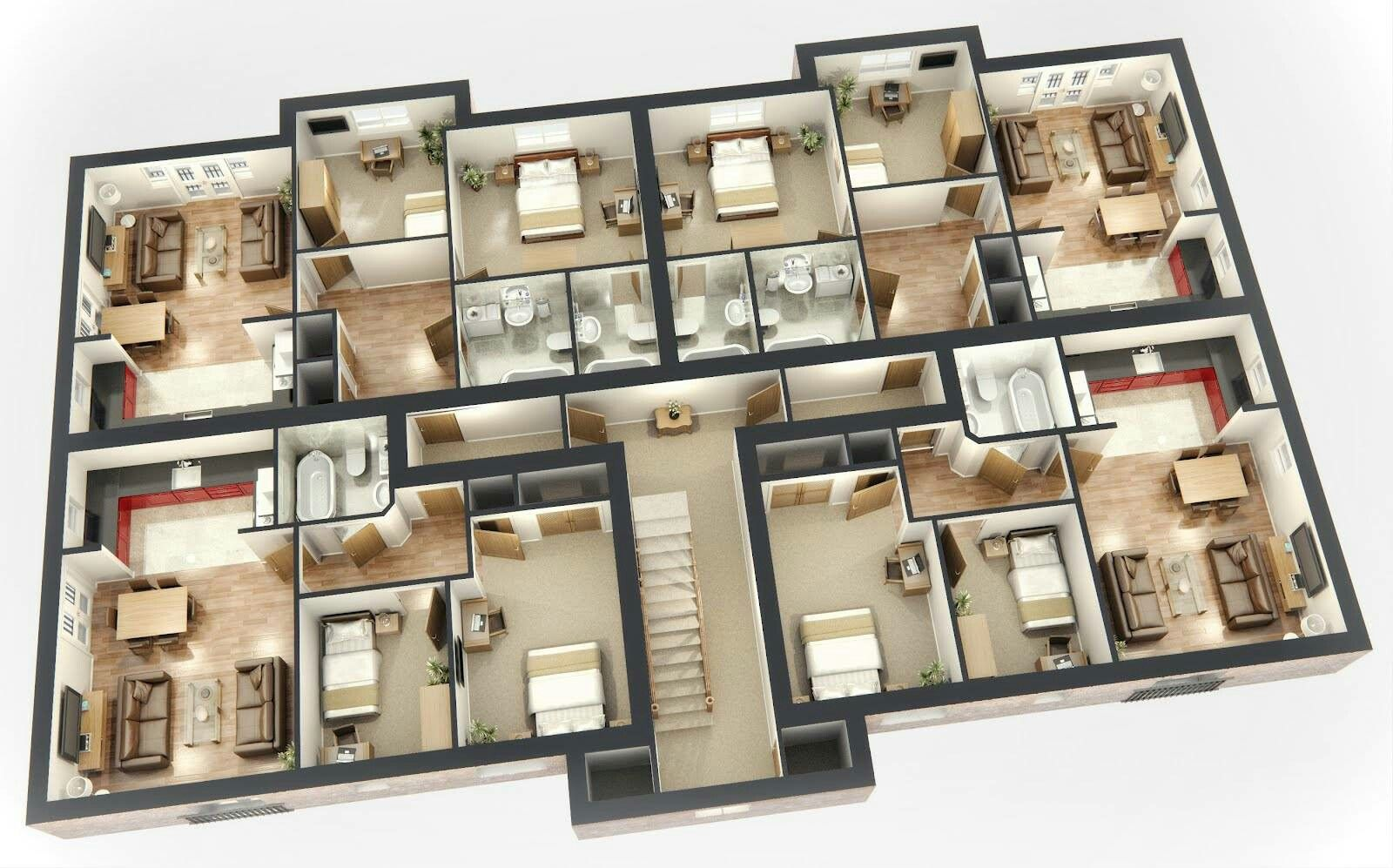 Pin By Djoa Dowski On Top View Inside House Small Apartment House Plans 3d House Plans House Blueprints