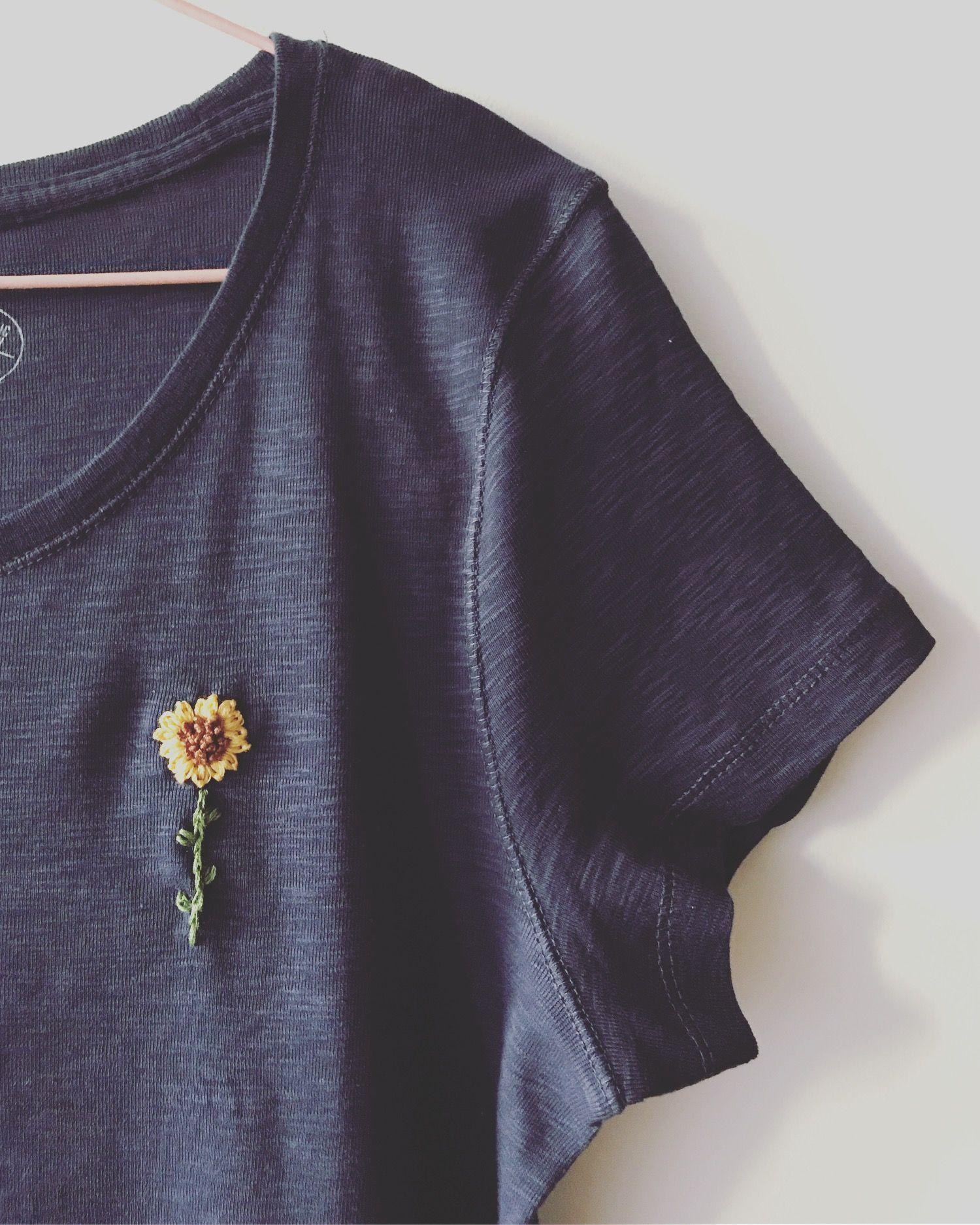 Sunflower Hand Embroidery T Shirt