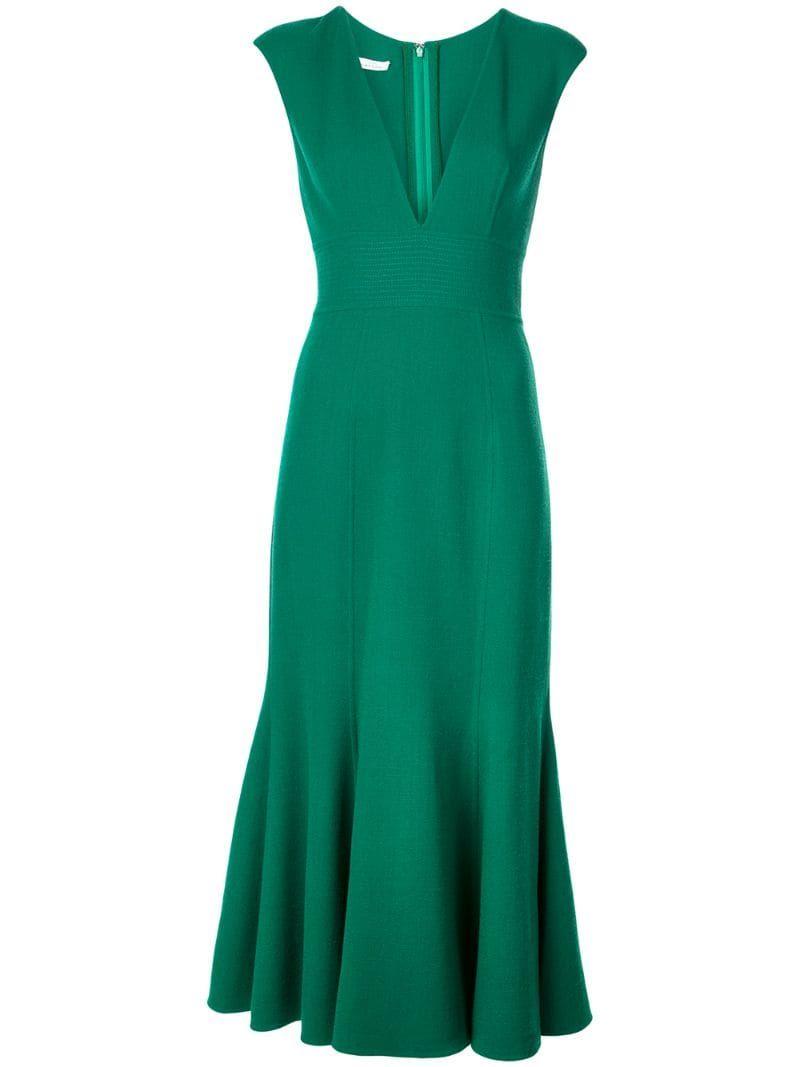 Oscar De La A Fishtail Midi Dress