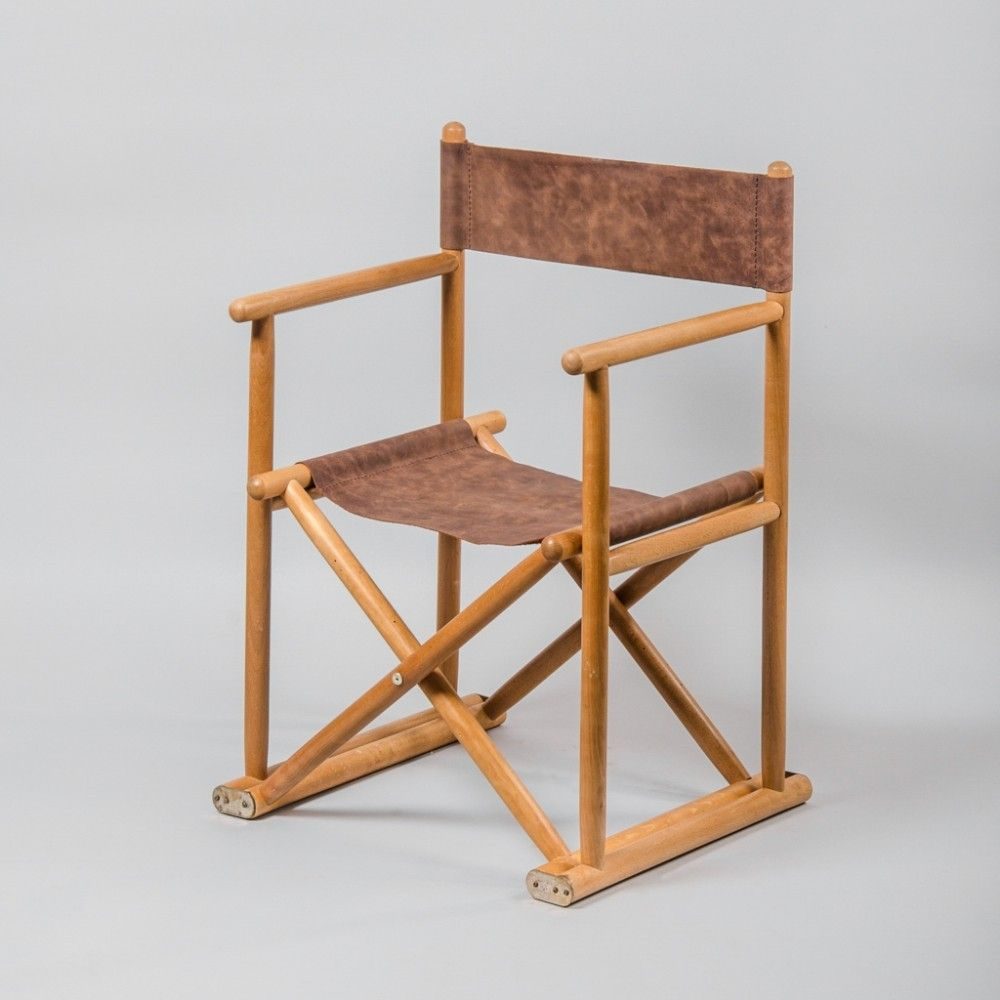 For Sale Vintage French Directors Chair In Beech Leather 1960s