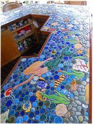 tropical mermaid mosaic tile bar top | For the Home | Pinterest ...