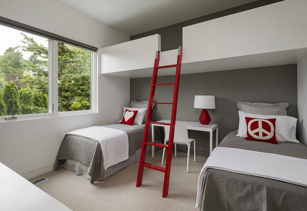 Double loft bed with desk  Pin by Interiors Cult on Kids room  Pinterest  Kids rooms