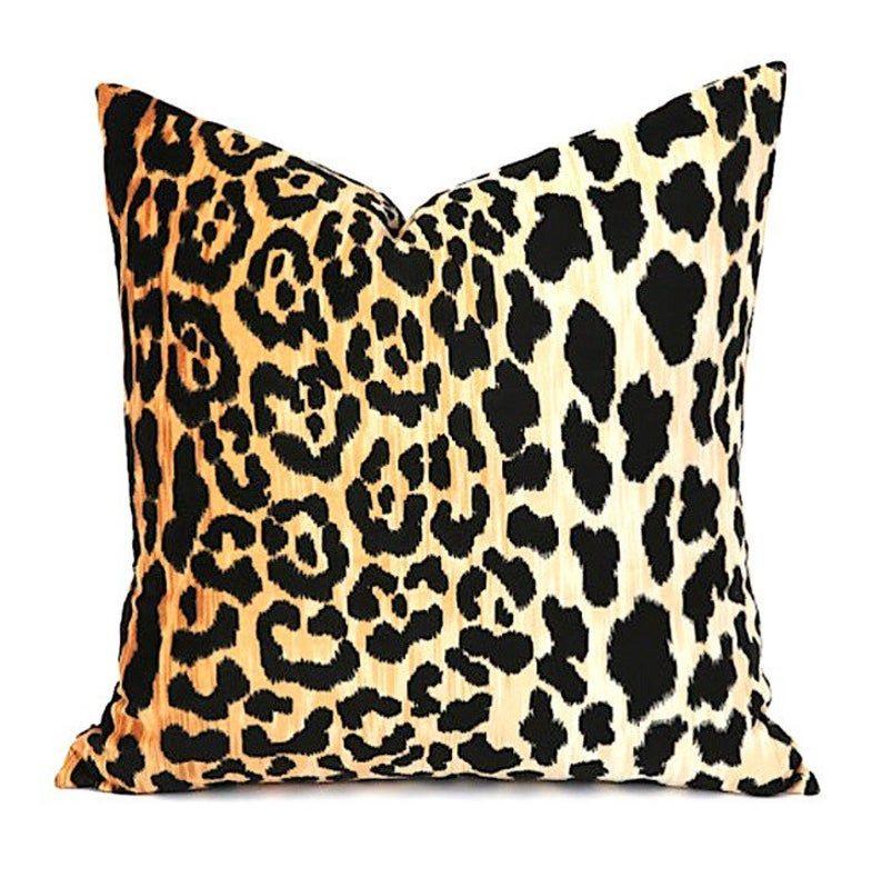 One Leopard Velvet Cushion Cover / Velvet Cheetah Pillow / Animal Print  ZIPPER Pillow Cover / Jamil Natural / Hollywood Regency Pillow C