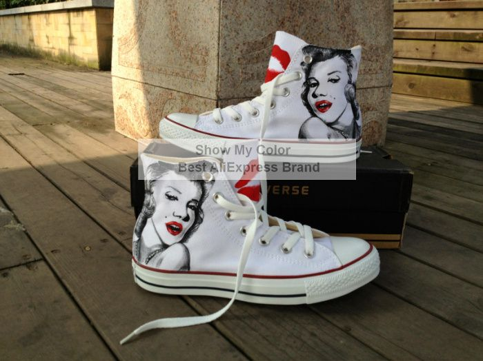 28d5adf9c99596 Marilyn Monroe Converse Hand Painted Custom Canvas Shoes High Top White  Sneaker