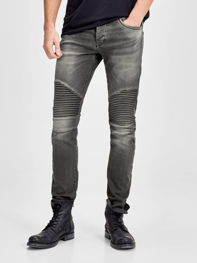 181a2bd844a56 Glenn ryder GE 106, slim fit, grey denim jeans. Soft indigo fabric with a  sweatwear touch. Stripe biker details above the knees   JACK   JONES